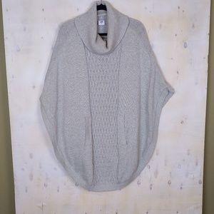 CAbi gray poncho pockets cowl neck sweater